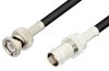 BNC Male to BNC Female Cable 12 Inch Length Using 53 Ohm RG55 Coax -- PE3375-12 -Image