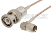 SMA Male Right Angle to BNC Male Cable 12 Inch Length Using RG178 Coax -- PE33257-12 -- View Larger Image
