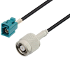 Water Blue FAKRA Jack to Reverse Polarity TNC Male Low Loss Cable 24 Inch Length Using LMR-100 Coax -- PE3W03361-24 -Image