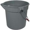 Rubbermaid Brute® Plastic Round Bucket - 14 Quart - Gray -- RM-2614GRA