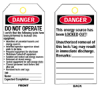 Economy Polyester Lockout Tags (B-851; English; Economy Polyester; 5 3/4
