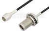 SMA Male to N Female Bulkhead Cable 36 Inch Length Using RG174 Coax, RoHS -- PE34171LF-36 -Image