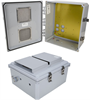 14x12x06 Polycarbonate Weatherproof NEMA 3R Enclosure, Modified Base Drilled Mount Vented Dark Gray -- NBPC141206-00V -Image
