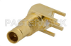 1.0/2.3 Jack Right Angle Connector Solder Attachment Thru Hole PCB, .200 inch x .055 inch Hole Spacing -- PE44258 - Image