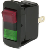 SPDT Mom On-Off- Mom On LED Rocker Switch, red lens & green lens -- 58312-RG3 - Image