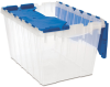 Akro-Mils Keepbox 12 gal 25 lb Blue / Clear Polypropylene Attached Lid Container - 21 1/2 in Length - 15 in Width - 12 1/2 in Height - 66486CLDBL -- 66486CLDBL