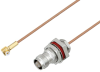 Snap-On MMBX Plug Right Angle to TNC Female Bulkhead Cable 8 Inch Length Using RG178 Coax -- PE3C3996-8 -Image