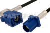 Blue FAKRA Plug to FAKRA Jack Right Angle Cable 12 Inch Length Using RG174 Coax -- PE38753C-12 -Image