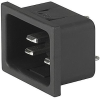 IEC Appliance Inlet C20, Snap-in Mounting, Front Side, Solder or Quick-connect Terminal