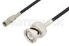 10-32 Male to BNC Male Cable 12 Inch Length Using RG174 Coax -- PE3C3275-12 - Image