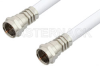 75 Ohm F Male to 75 Ohm F Male Cable 48 Inch Length Using 75 Ohm RG59-WHITE Coax -- PE36143-48 -Image