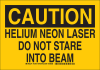 Brady B-555 Aluminum Rectangle Yellow Laser Hazard Sign - 14 in Width x 10 in Height - TEXT: CAUTION HELIUM NEON LASER DO NOT STARE INTO BEAM - 129165 -- 754473-78176