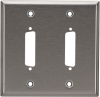 2-Port DB25 Double-Gang Stainless Steel Wallplate -- WP030 - Image