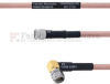 SMA Male to RA SMA Male MIL-DTL-17 Cable M17/60-RG142 Coax in 12 Inch -- FMHR0024-12 -Image