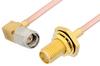 SMA Male Right Angle to SMA Female Bulkhead Cable 24 Inch Length Using RG405 Coax, RoHS -- PE3925LF-24 -Image