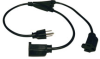 Standard Power Extension Cord Y Splitter Cable, 10A, 18AWG (NEMA 5-15P to 2x NEMA 5-15R) 1-ft. -- P022-001-2