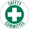 Brady B-946 Green on White Circle Vinyl Hard Hat Label - Printed Text = SAFETY COMMITTEE - 45330 -- 754476-45330