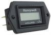 Honeywell LM Series Hour Meter in a diamond shape with black bezel, two 1/4 inch blade terminals (positive, negative), 9 V to 64 V voltage range, and the Honeywell logo on the face -- LM-HH2AS-H11