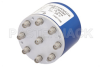 SP8T Electromechanical Relay Latching Switch, Terminated, DC to 18 GHz, up to 240W, 28V Indicators, Reset, SMA -- PE71S6080 - Image