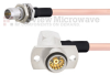 Slide-On BMA Plug Bulkhead to RA Slide-On BMA Jack 2 Hole Flange Cable RG405 Type .086 Coax in 24 Inch -- FMCA1593-24 -Image