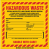 Brady B-7569 Black / Red on Yellow Square Vinyl Health, Sanitation & Waste Label - 6 in Width - 6 in Height - Printed Text = HAZARDOUS WASTE - FEDERAL LAW PROHIBITS IMPROPER DISPOSAL - NEW JERSEY SPEC -- 754473-70662