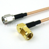 SMA Male to RA SMA Male Cable RG316-DS Coax in 12 Inch and RoHS with LF Solder -- FMC0204317LF-12 -Image