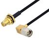 Reverse Polarity SMA Female Bulkhead to SMA Male Right Angle Cable 48 Inch Length Using PE-SR405FLJ Coax -- PE3W04625-48 -- View Larger Image