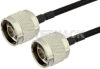N Male to N Male Semi-Flexible Precision Cable 12 Inch Length Using PE-SR402FLJ Coax, RoHS -- PE39465-12 -Image