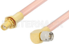 SMA Male Right Angle to SMA Female Bulkhead Cable 24 Inch Length Using RG401 Coax -- PE34315-24 -- View Larger Image