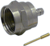 Connector, F Male Crimp, Teflon Insulation, Gold Pin, Nickel Plated Body, Hex Shell, for TCC Cable Group L , N -- 18-22LN-TGN - Image