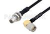 Slide-On BMA Plug Bulkhead to SMA Male Right Angle Cable 36 Inch Length Using PE-SR405FLJ Coax -- PE3C4857-36 -Image