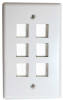 6 Port Wall Plate for Keystone -- 68PL-A6 - Image