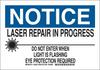 Brady B-555 Aluminum Rectangle White Laser Hazard Sign - 14 in Width x 10 in Height - 129291 -- 754473-78361