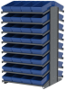 Akro-Mils 1800 lb Blue Gray Powder Coated Steel 16 ga Double Sided Fixed Rack - 36 3/4 in Overall Length - 64 Bins - Bins Included - APRD18188 BLUE -- APRD18188 BLUE - Image