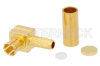 75 Ohm MCX Plug Right Angle Push-On Connector Crimp/Solder Attachment for RG179, RG187 -- PE45086 -- View Larger Image