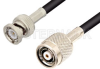 Reverse Polarity TNC Male to BNC Male Cable 36 Inch Length Using RG223 Coax -- PE35235-36 -- View Larger Image