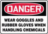 Accuform Danger Wear Goggles and Rubber Gloves Signs -- hc-19821808 - Image