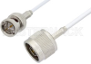 75 Ohm N Male to 75 Ohm BNC Male Cable 72 Inch Length Using 75 Ohm RG187 Coax, RoHS -- PE3400LF-72 -Image