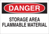 Brady B-401 Polystyrene Rectangle White Chemical, Biohazard, Hazardous & Flammable Material Sign - 10 in Width x 7 in Height - TEXT: DANGER STORAGE AREA FLAMMABLE MATERIAL - 25678 -- 754476-25678