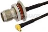 TNC Female Bulkhead to MMCX Plug Right Angle Semi-Flexible Cable 12 Inch Length Using PE-SR405FLJ Coax with HeatShrink, LF Solder, RoHS -- PE39492-12 -Image