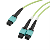 Fiber Aggregation Conversion Harness, MPO24 no pins to 2xMPO12 no pins, OM5 50/125um Multimode, LSZH Jacket, Lime Green, 3 meter -- MPF24212OM5Z-CA-3 -Image