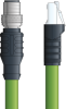 LAPP ETHERLINE® PROFINET® Extension Cordset - 4 positions female M12 straight connector to 4-wire RJ45 shielded connector - Green Polyurethane (PUR) - Stationary -1m -- OLFCPN009S01 -- View Larger Image
