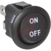 Switch, Rocker, Round, 10 Amps, Single Pole, On-Off, .187 QC Terminals, Black -- 70207483