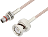 Slide-On BMA Plug Bulkhead to BNC Male Cable 60 Inch Length Using RG316 Coax -- PE3C4949-60 -Image