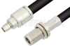 SMA Male to N Female Bulkhead Cable 12 Inch Length Using RG214 Coax -- PE33481-12 -- View Larger Image