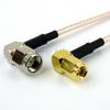 RA SMA Male to RA SMC Plug Cable RG-316 Coax in 48 Inch -- FMC0428316-48 -Image