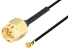 SMA Male to UMCX 2.5 Plug Cable 3 Inch Length Using 1.37mm Coax, RoHS -- PE3CA1025-3 -- View Larger Image