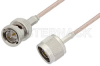 75 Ohm N Male to 75 Ohm BNC Male Cable 12 Inch Length Using 75 Ohm RG179 Coax, RoHS -- PE3398LF-12 -Image