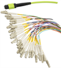 MPO w/ pins to LC Fan-out, 24 fiber round,OM5 50/125um Mltmd, LSZH Jacket, Lime Green, 0.5 meter -- MPM24OM5-LCZ-05 -Image