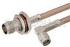 SMA Male Right Angle to TNC Female Bulkhead Cable 36 Inch Length Using RG400 Coax -- PE33759-36 -Image